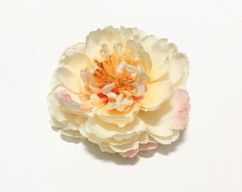 YELLOW PINK Peony - Artificial Flowers, Silk Flower, Mllinery, Wedding