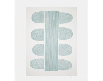 Retro screenprint/ abstract screenprint 'Blue Stem', large, handmade original in blue on cream.
