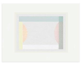 abstract geometric screenprint in ten pretty colours, handmade original contemporary, modern art by Emma Lawrenson