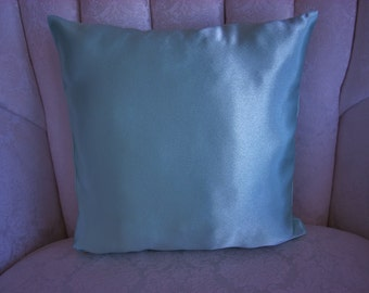 """SATINY BLUE PILLOW!  12.5"""" square. Any season!  Perfect for your boudoir decor.  Feminine?  Girlie?  Shiny?  Of course!"""