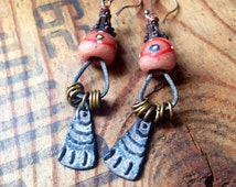 African glass trade bead and Inviciti pewter charm assemblage earrings.  Powder glass boho tribal primitive earthy organic Artifactory
