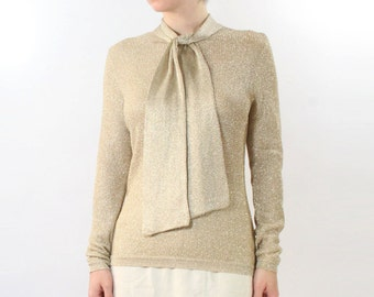 VINTAGE 1960s Gold Blouse Mesh Knit Bow Small