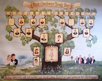 Personalized family tree artwork with realistic portrait paintings 36 x 48 inch canvas