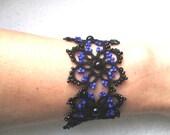 Tatted - Frivolite Black Bracelet - Lace Tatting Jewelry - Rocker Bracelet- Black and blue bracelet