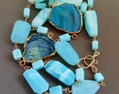 Peruvian Blue Opal with Aqua Galaxy Quartz Druzy Connector Choose Single or Double Strand Layering Necklace Wire Wrapped 14k Gold Fill