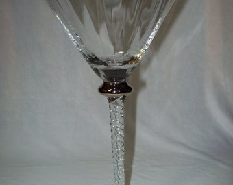 Vintage Glass Twisted Stem with Silver Lg Martini Glass Ribbed bowl