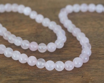 6mm Rose Quartz beads, round natural gemstone, full & half strands available  (1134S)