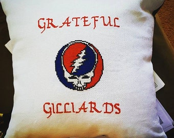GRATEFUL DEAD Throw Pillow Custom Needlepoint Stealie Face with Family Name Added