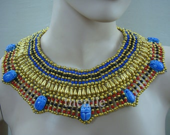 Egyptian Belly Dance Queen Cleopatra Necklace 7 Scarab Mega Sale