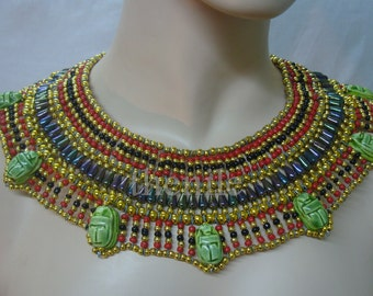 lrg Egyptian  bedead  Queen Cleopatra Necklace 7 Scarab Mega Sale