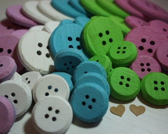 10 Decorative Wooden Buttons 3-7cm ~ Choose Colour ~ *Craft*Cards*Gifts*Home Decor*