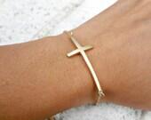Cross Bracelet. Sideways Cross. Gold Bracelet. Religious Bracelet. Spiritual Jewelry