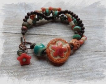 Pink and Blue Turquoise Boho Bracelet Unique Rustic Bohemian Style Rustic Earthy Funky