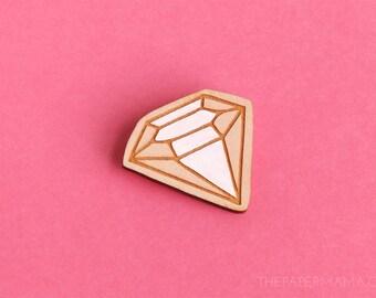 Handpainted Wooden Diamond Pin - Brooch