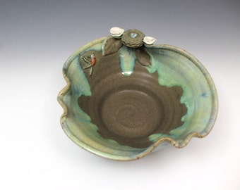 Birds Nest and Robin Handmade Pottery Serving Bowl Matte Green