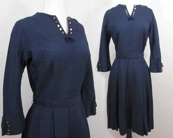 Navy Blue shantung fabric Dress -1950s - gold buttons & bow trim - S