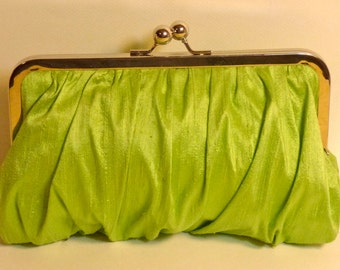 Bridal Clutch or Bridesmaid Clutch Lime Green Silk Gathered Clutch CUSTOMIZE