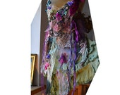 RESERVED for Margie Unique Art To Wear Tunic/Dress Cinderella PURPLE MEADOWS Fairy Silks Silk Velvet  Boho Marie Antoinette Tattered Gipsy