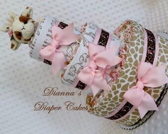 Giraffe Baby Diaper Cake BOYS GIRLS NEUTRAL Zoo Animals Shower Gift Centerpiece Decoration Nursery