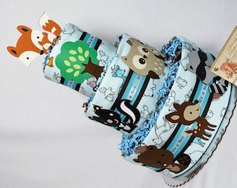 Baby Diaper Cakes Woodland Animals Shower Gift Centerpiece in Blue