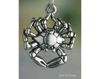 Crab Charm Sterling Silver Beach Ocean Seafood or Zodiac Solid .925