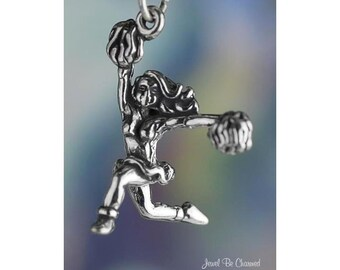Sterling Silver Cheerleader Charm Pom Poms Cheerleading 3D Solid .925