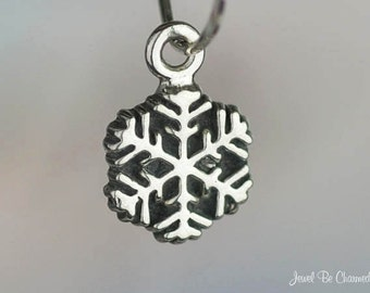 Sterling Silver Miniature Snowflake Charm Snowflakes Tiny Solid .925