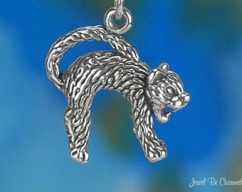 Sterling Silver Scaredy Cat Charm Hissing Fraidy Cats 3D Solid .925