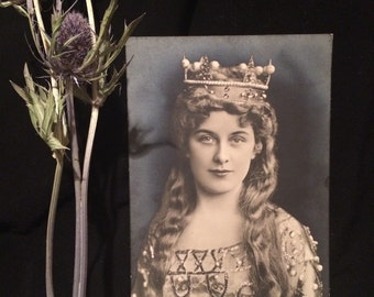 Antique Photo Postcard - Geraldine Farrar - Opera Singer - Woman - Long Hair - Crown