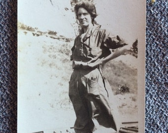 Antique Photo - Working Woman of 1920's - Railroad Tracks