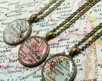 SALE CUSTOM Map Necklace. You Select Location. Anywhere In The World. One Necklace. Map Pendant. Map Jewelry. Personalized. Gifts. Mom. Frie