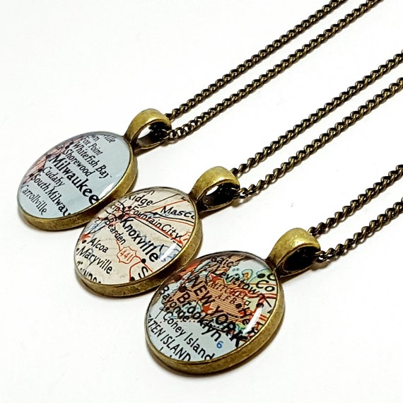 CUSTOM Vintage Map Necklace. You Select Location. Anywhere In The World. One Necklace. Map Pendant. Map Jewelry. Map Travel. World Map.