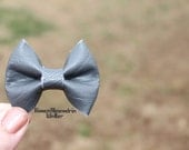 Gray Faux Leather Headband. Baby Headband. Bow Headband. Bridal Headband. Flowergirl Headband. Gray Bow Headband. Newborn Headband.