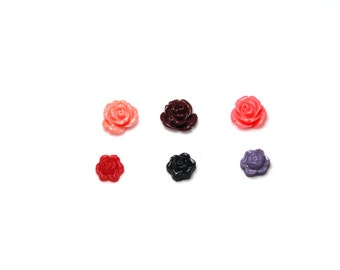 Rose Cabochons - 10mm - 12mm - Set of 6