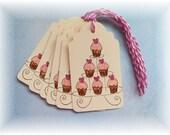 Cupcake tags - cupcake tower- gift/hang tags  (6)