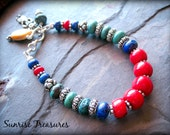 Red Coral, Lapis, Natural Turquoise Bracelet, Bali Sterling Silver, Spiny Oyster, Kachina Charm Bracelet, Southwest Jewelry