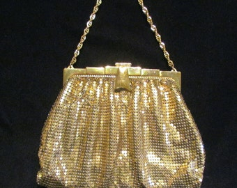 Art Deco Whiting Davis Purse 1930s Gold Mesh Purse Formal Purse Evening Purse Wedding Bridal Bag