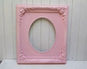 Ornate Chunky Shabby Cottage Chic Picture Frame  Large distressed Pink 11 x 14 Oval Opening