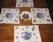 RESERVED for M. - Lovely Purple Violet Linen Napkins, Set of 4 - Vintage Dining Table Setting, Breakfast Nook, Bridal Brunch