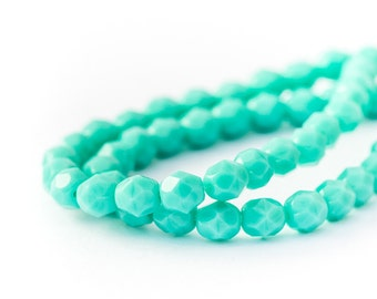 6mm Turquoise Faceted Round Spacer Beads, Opaque Fire Polished Czech Glass, 6mm x 25pc (0017)