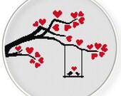 INSTANT DOWNLOAD,Free shippingCounted Cross-Stitch PDF,Love birds, tree,valentine's day, wedding,zxxc0658