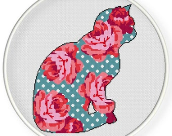 Instant Download,Free shipping,Counted Cross stitch pattern,Cross-Stitch PDF, pillow pattern ,vintage flower cat,zxxc0837