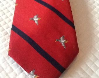 Vintage Silk Tie with Flying Mallard Ducks USA Red, Blue Diagonal Stripes