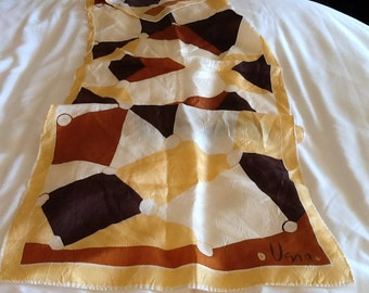 Vintage VERA Scarf VERA NEUMANN Scarf Rectangle Graphic Design Brown, White, Rust, Tan
