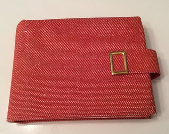 Vintage Red and White Fleck Small Wallet with Gold Hardware
