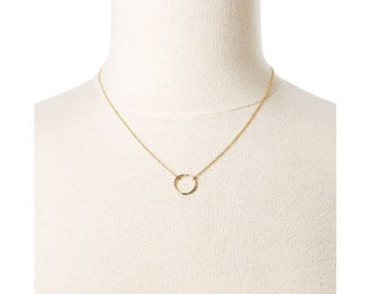 Simple gold ring cham necklace