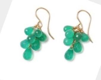 Green onyx cluster drop earrings