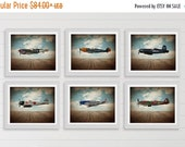 FLASH SALE til MIDNIGHT Vintage Wwii Airplanes on Sky Background Setof 6 Photo Prints, Airplane Wall decor, Boys Room Decor, Airplane Wall A