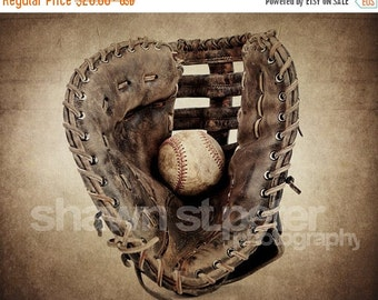 CHRISTMAS in JULY SALE Vintage Baseball Glove and Ball Photo Print ,Decorating Ideas, Wall Decor, Wall Art,  Kids Room, Nursery Ideas, Gift