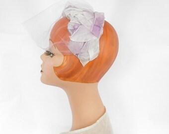 1950s lavender hat, vintage halfhat veil and velvet ribbon